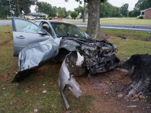 A truck and car collided early Tuesday, Sept. 22, 2015, near the intersection of N.C. 86 and Sawmill Road in Orange County.