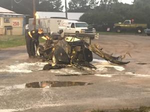 A driver is recovering from burns after a crash that resulted in a car fire in Knightdale on Wednesday afternoon.