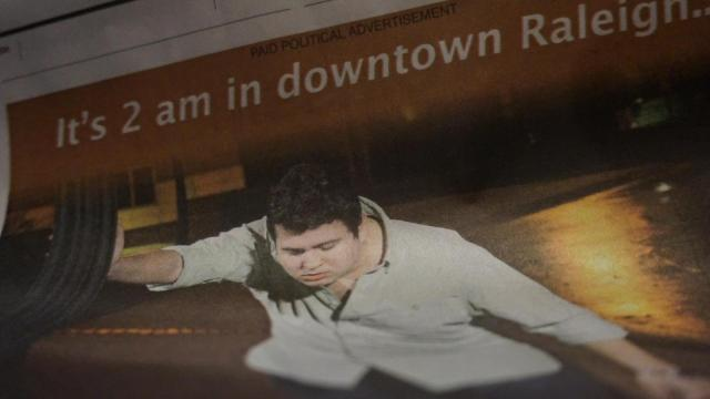 """A controversial political ad painting downtown Raleigh as """"Drunk Town"""" had people talking Wednesday night after it sparked a YouTube spoof and social media backlash."""