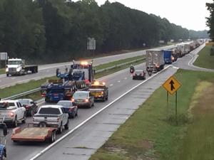 Interstate 95 was closed Thursay afternoon near exit 65 in Godwin due to a tree that fell on a vahicle.