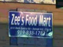 The incident occurred just after 10 p.m. at Zee's Food Mart located at 810 Rock Quarry Road.