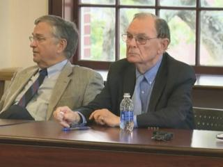 Pulitzer-Prize-winning journalist Gene Roberts (right) listens during a seminar at UNC-Chapel Hill's Journalism School. Roberts lead a discussion on the dearth of coverage of race issues and state government.