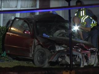One person died after a car hit a home in Raleigh early Sunday, Oct. 11.