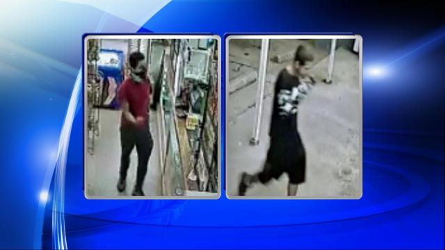 Authorities released surveillance video Wednesday of two men captured inside a Tobacco Plus Mini Mart at 2017 Chapel Hill Road on Oct. 7. Police said that the two men entered the store just before 10 p.m. and robbed the clerks at gunpoint.