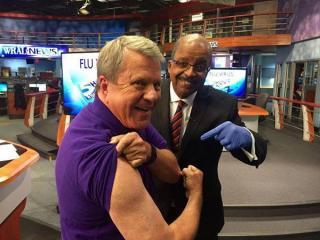 David Crabtree got a flu shot from Dr. Allen Mask on Thursday.