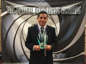 Diego Pineda was awarded the youth accomplishment scholarship of the Latino Diamante awards Friday night.