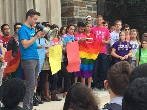 Jack Donahue said his sense of security at Duke University was damaged Thursday when he awoke to find homophobic, threatening graffiti that called him out by name in a residence hall.