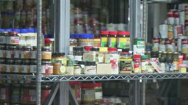 Shelves stocked with food at the Durham Rescue Mission.