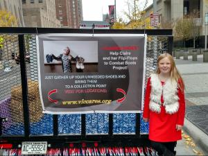 Claire Ledford, 11, of Sanford, is on a mission to help veterans by collecting shoes and raising money.