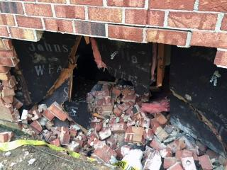 No injuries were reported Wednesday afternoon when a car slammed into a Cary apartment building, police said.