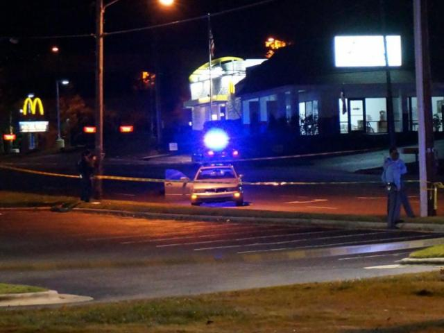 A man died and a woman was hospitalized early Friday in a shooting in east Raleigh at the intersection of New Bern Avenue and Trawick Road.<br/>Photographer: Jamie Munden