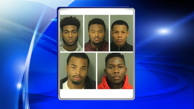 Five young men from Raleigh face robbery charges after police allege they held up a Dominos Pizza delivery man.
