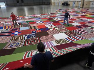 The world's largest Christmas stocking – a 1,600-pound, 7,700-square-foot behemoth that took more than a year to create – will be unveiled Saturday evening at Fayetteville's Arnette Park.