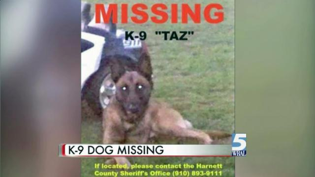 A Harnett County Sheriff's Office K-9 wandered away on Tuesday, and the office is asking for the public's help finding him.