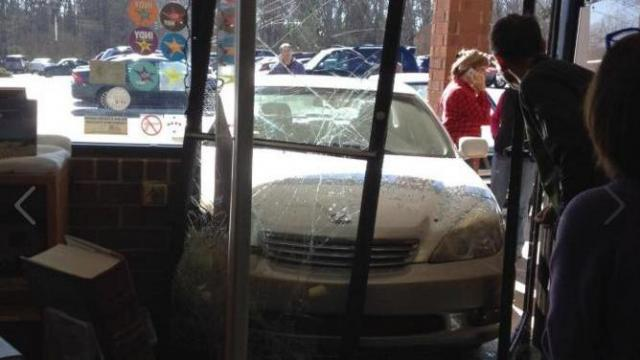 No one was injured Sunday when a car ran into the entrance of Quail Ridge Books in Raleigh's Ridgewood Shopping Center.