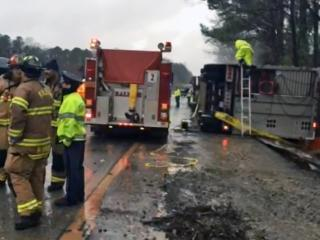 A tractor-trailer carrying pigs crashed Tuesday morning along Interstate 40 West in south Raleigh, police said.