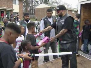 The Turning Point Biker Club gave out a trailer full of toys to children in low-income Raleigh neighborhoods.