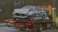 IMAGES: Wake deputy OK after head-on collision; driver charged with DWI