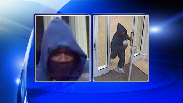 Po0lice are searching for a man who robbed a First Citizens Bank branch on Vision Drive in Apex on Dec. 31, 2015.