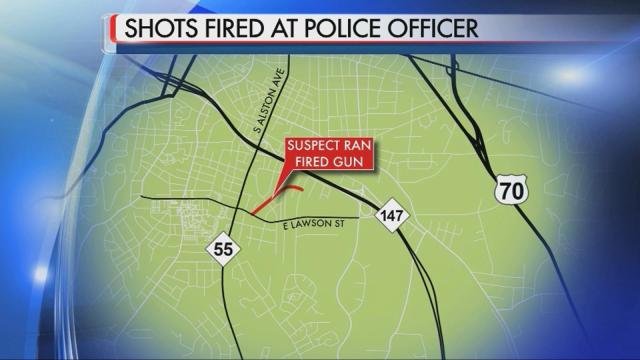 Durham police are searching for a suspect they say shot at an officer during a foot chase Saturday night.