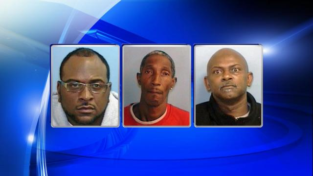 Desmon Elpedia Collins (left), Thedore Martin Jr. (center) and Coy Lamonte Saunders have been charged in connection with several larcenies reported in the last five months at retail locations in Chapel Hill, police said.