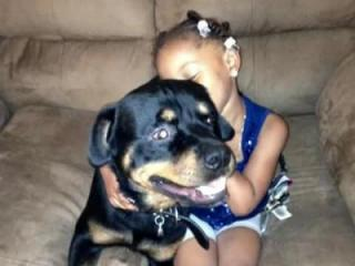 Earl Boone's daughter hugging Bear, the Rottweiler who he said ran away and was adopted by a Ft. Bragg soldier.