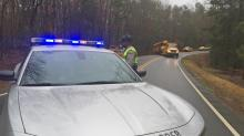 IMAGES: Wake County school bus crashes into ditch; no students on board