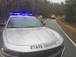 No students were on board a Wake County school bus Tuesday morning when it crashed into a ditch on Pleasant Union Church Road in Raleigh, North Carolina State Highway Patrol officials said.