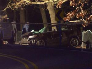 Officials said a passenger died early Sunday morning in a single vehicle crash in Fayetteville.