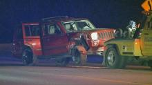 IMAGES: SUV crashes into power pole, forcing temporary closure of Raleigh road
