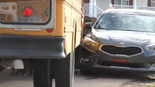 One person was injured when a car and a school bus collided Friday morning in Johnston County.