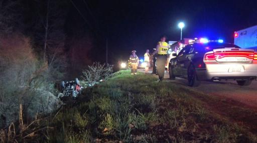 A woman died early Saturday morning after driving off the road and landing in a creek in Nash County, according to authorities.