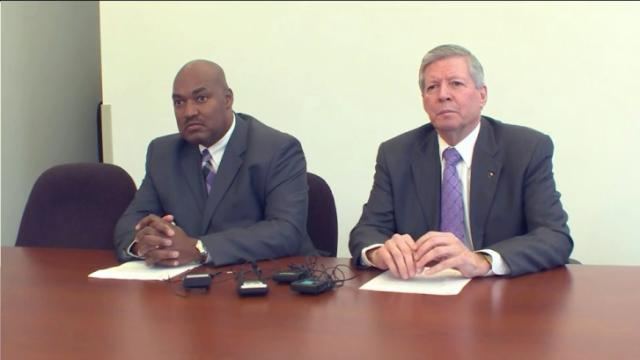 East Carolina University Chancellor Steve Ballard, right, and campus Police Chief Gerald Lewis