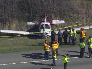 A single-enginge plane made an emergency landing Tuesday morning along I-540 in Raleigh.