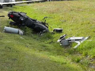 Authorities said a Chevrolet Colorado pickup truck pulled out of a driveway onto Cedar Hill Road and hit a Harley-Davidson motorcycle head-on at about 5 p.m.
