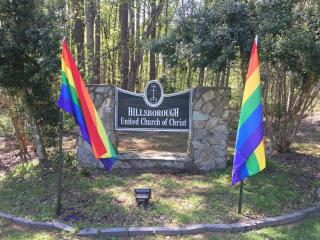 A Hillsborough church has replaced two pride flags after someone burned them over the weekend.