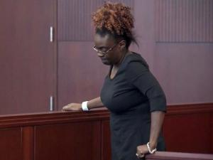 Angela Renee Roland appears in court on April 20, 2016, to face charges in an Interstate 440 crash in Raleigh that injured two state Department of Transportation workers.