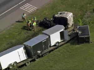 Authorities said one person died on Wednesday in a wreck that involved two tractor-trailers on Interstate 95 northbound in Benson.