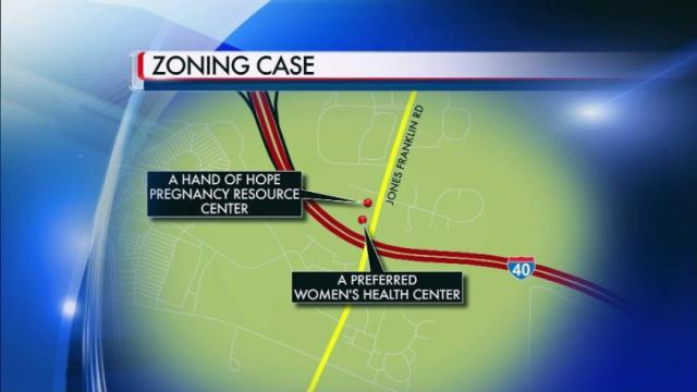 A Hand of Hope Pregnancy Resource Center is seeking to have a residential lot rezoned so it can move its offices next to A Preferred Women's Health Center on Jones Franklin Road in Raleigh.
