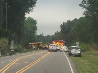 Two Wake County school buses were involved on Wednesday morning in an accident in Wendell, school officials said.