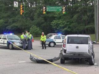 A 23-year-old motorcyclist was seriously injured on Thursday evening when he collided with another vehicle in Raleigh.