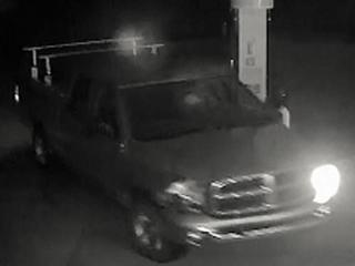 Authorities are searching for the pickup seen in this image from a convenience store security camera in connection with a fatal hit-and-run on N.C. Highway 211 in Moore County on May 20, 2016.