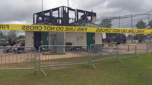 The press box at Douglas Byrd Middle School's athletic fields is a total loss on Saturday morning after a fire.