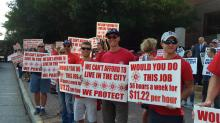 IMAGE: Raleigh firefighters, police demand larger raises