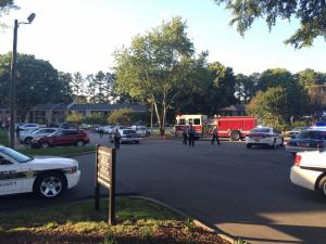 Authorities said that officers responded to the Hunting Ridge apartment complex in the 1000 block of Fox Hunt Lane just after 7 p.m. in reference to a reported shooting.