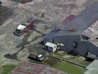 Emergency crews closed U.S. Highway 701 between Elizabethtown and Clarkton Monday after fire broke out at a chemical plant.