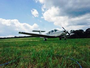 A small plane made an emergency landing Friday morning near the Raleigh Executive Jetport in Sanford, police said.