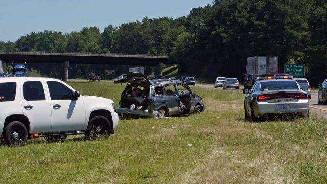 Seven people were taken to the hospital late Monday morning when a van wrecked on Interstate 95 near Fayetteville.