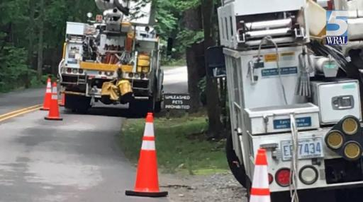 Power was out briefly on Thursday morning to some customers on Glenwood Avenue in Raleigh.