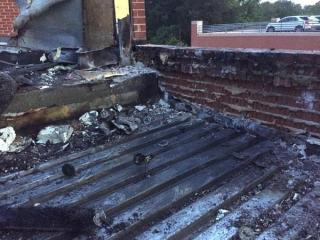 A small area of the Gateway Center roof in Hillsborough was damaged by illegal fireworks, officials said.